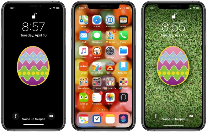 Three iPhone XS devices, each with Easter-themed wallpaper.