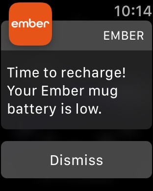 Apple Watch screen shot of Ember Mug recharge notification.