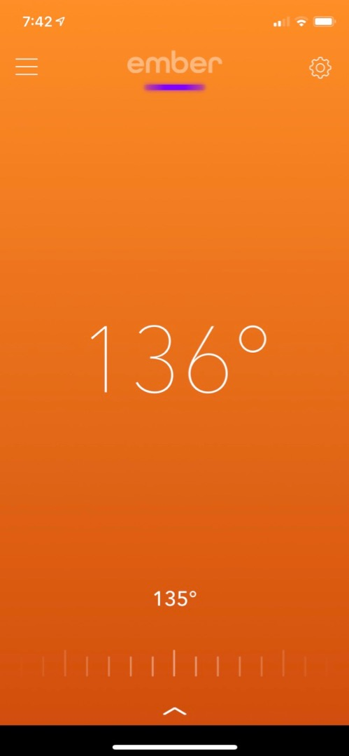 Screen shot of the iOS app showing current mug temperature of 136°.