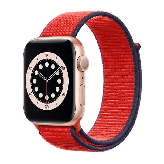 Apple Watch Series 6 gold aluminum with product red sport loop band.