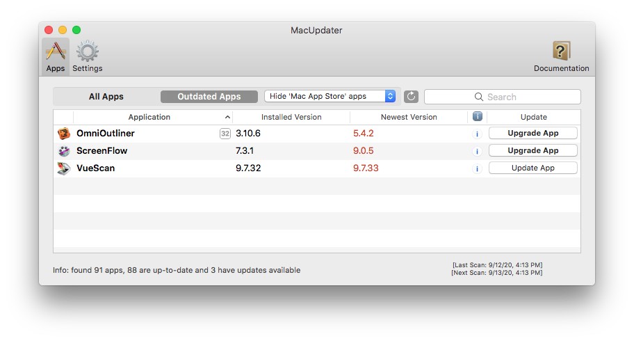 Screen shot of the MacUpdater app window after scanning the internal drive for apps that need updating.