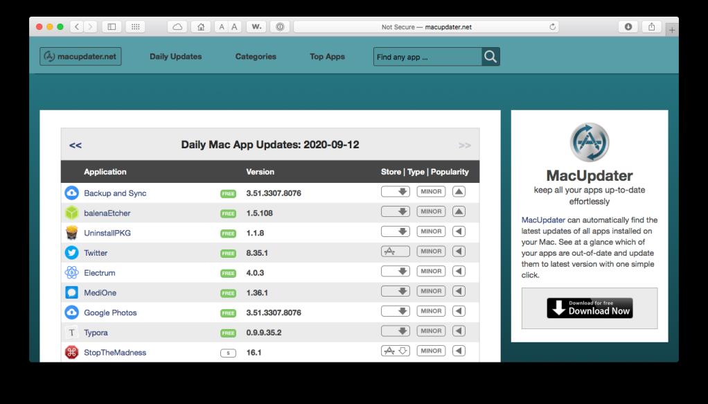 Screen shot of the MacUpdater.net website in Safari for macOS.