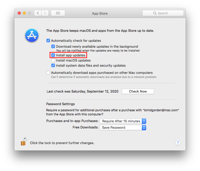 Screen shot of the App Store preference pane in System Preferences for macOS.